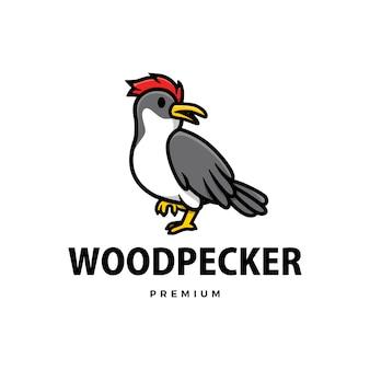 Illustration de l'icône du logo dessin animé mignon pecker bois