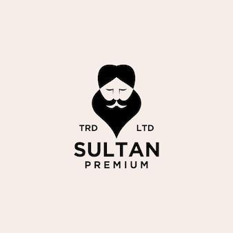 Illustration de l'icône du logo vintage sultan vecteur premium