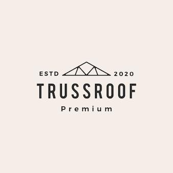 Illustration de l'icône du logo vintage de toit en treillis