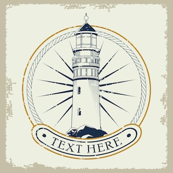 Illustration d'icône emblème gris nautique phare