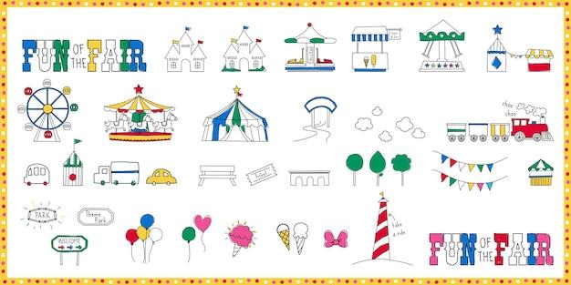 Illustration d'icône de fête foraine avec la conception de parc à thème d'attractions