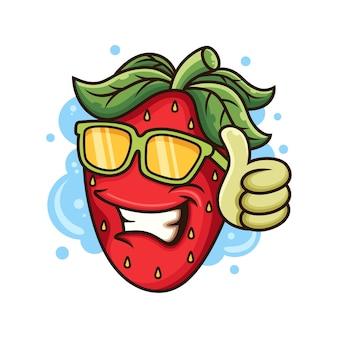 Illustration d'icône fraise fraîche. concept d'icône de fruits avec des lunettes et pose du pouce