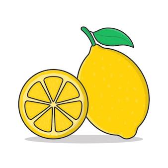 Illustration d'icône de fruits de citron. icône plate entière et tranche de citron