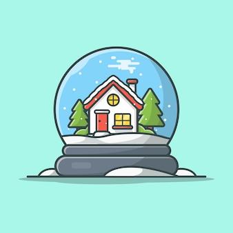 Illustration d'icône globe neige hiver