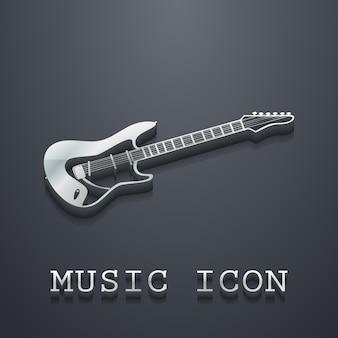 Illustration d'icône de guitare, modèle de musique. couverture créative et luxueuse