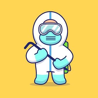 Illustration d'icône homme désinfectant mignon. personnage de dessin animé de mascotte corona. concept d'icône personne isolé
