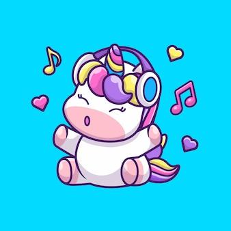 Illustration d'icône licorne et musique mignon. personnage de dessin animé de mascotte de licorne. concept d'icône animale isolé