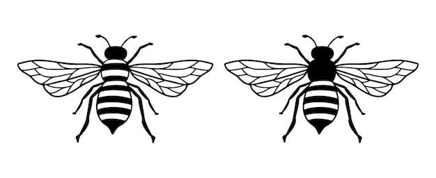 Illustration d'icône de ligne d'abeille de vecteur. logo graphique d'insecte, emblème de griffonnage simple. abeille dessinée à la main isolée sur fond blanc. conception de contour de symbole de reine. art noir de bogue minimaliste.