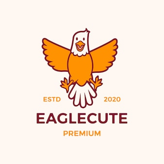 Illustration d'icône logo aigle mignon dessin animé
