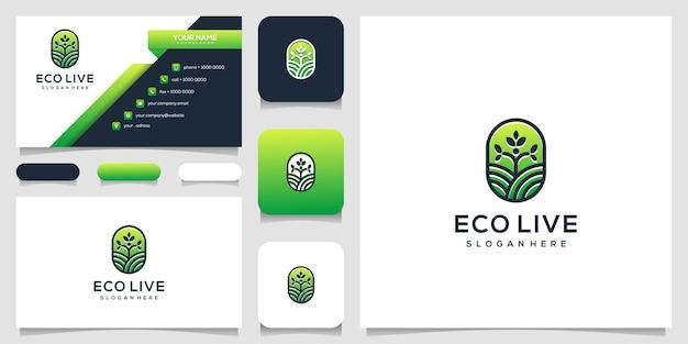 Illustration d'icône de logo d'art de ligne d'arbre humain et carte de visite