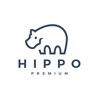Illustration d'icône logo hippopotame