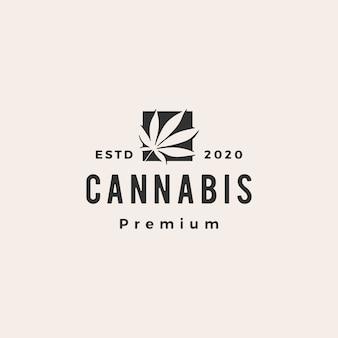 Illustration d'icône logo hipster cannabis vintage