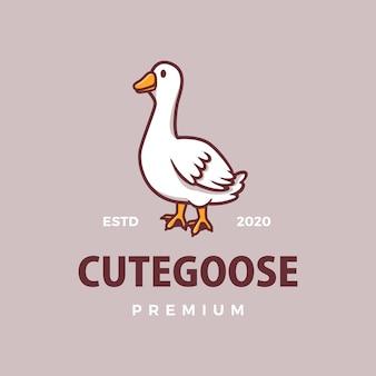 Illustration d'icône logo mignon oie dessin animé