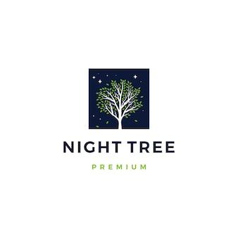 Illustration d'icône logo nuit arbre