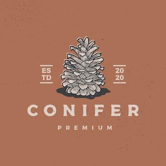 Illustration d'icône logo rétro vintage conifère
