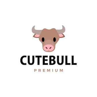 Illustration d'icône logo taureau mignon