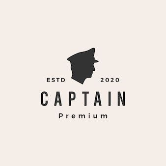 Illustration d'icône logo vintage capitaine
