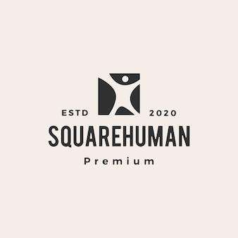 Illustration d'icône logo vintage hipster carré humain