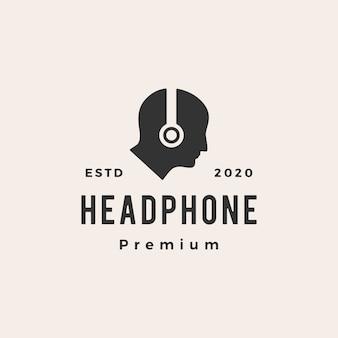 Illustration d'icône logo vintage hipster casque humain
