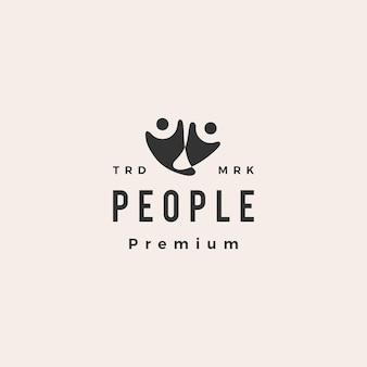 Illustration d'icône de logo vintage hipster humain personnes