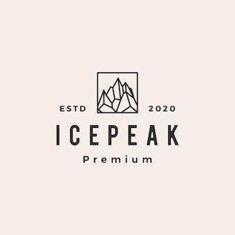 Illustration d'icône logo vintage hipster icepeak mount
