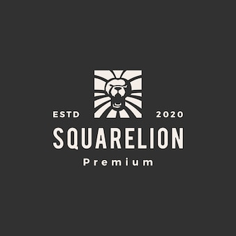 Illustration d'icône logo vintage lion carré
