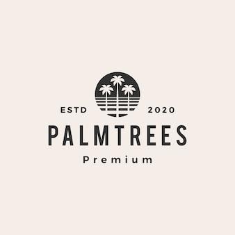 Illustration d'icône logo vintage palmier hipster