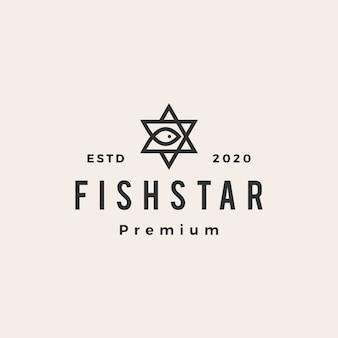 Illustration d'icône logo vintage poisson star hipster