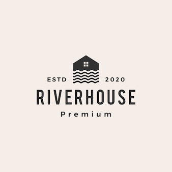 Illustration d'icône logo vintage river house