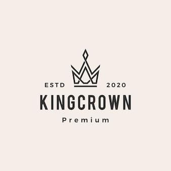 Illustration d'icône logo vintage roi couronne hipster