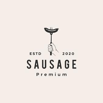 Illustration d'icône logo vintage saucisse
