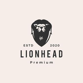Illustration d'icône logo vintage tête de lion hipster