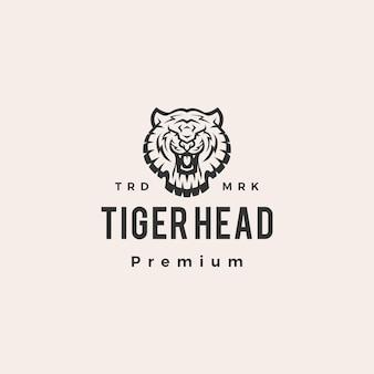 Illustration d'icône logo vintage tête de tigre hipster