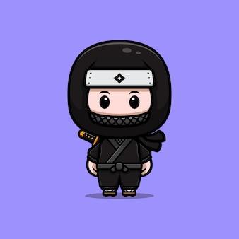 Illustration d'icône mascotte ninja japonais mignon