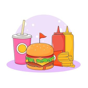 Illustration d'icône mignon boisson gazeuse, hamburger, frites et sauce. concept d'icône de restauration rapide. style de bande dessinée