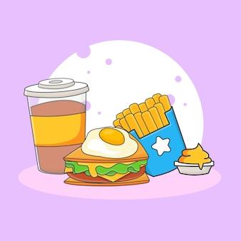 Illustration d'icône mignon boisson gazeuse, sandwich, frites et sauce. concept d'icône de restauration rapide. style de bande dessinée