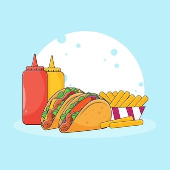 Illustration d'icône mignon taco, frites et sauce. concept d'icône de restauration rapide. style de bande dessinée
