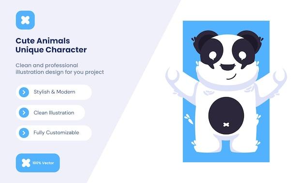 Illustration d'icône de panda mignon. concept d'icône d'amour animal