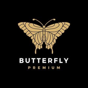 Illustration D'icône Papillon Logo Or Vecteur Premium