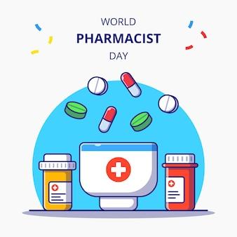 Illustration de l'icône plate de la journée mondiale du pharmacien. concept d'icône de pharmacie et de médecine isolé.