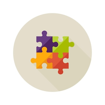Illustration de l'icône plate de puzzle de créativité de solution