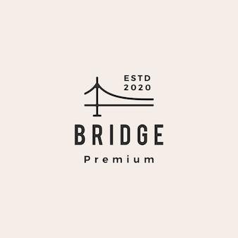 Illustration d'icône de pont hipster logo vintage