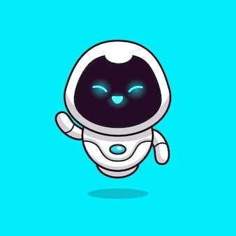 Illustration d'icône de robot mignon. concept d'icône de robot de technologie isolé. style de dessin animé plat