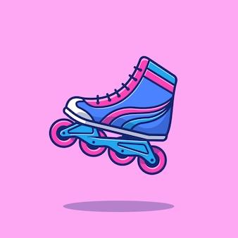 Illustration d'icône de sport de patin à roulettes. sport roller skating icon concept isolé. style de dessin animé plat