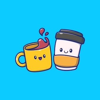 Illustration d'icône de temps de café mignon. concept d'icône de boisson café isolé. style de dessin animé plat