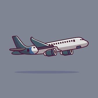 Illustration d'icône de vecteur de dessin animé avion