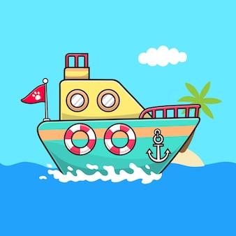 Illustration d'icône de vecteur de dessin animé de bateau. concept d'icône d'objet de transport isolé vecteur premium. style de dessin animé plat