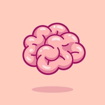 Illustration d'icône de vecteur de dessin animé de cerveau. concept d'icône d'objet d'éducation isolé vecteur premium. style de dessin animé plat