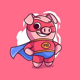 Illustration d'icône de vecteur de dessin animé cochon super-héros