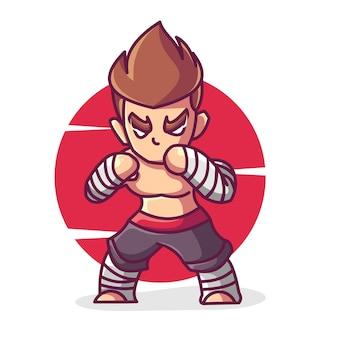 Illustration d'icône de vecteur de dessin animé fort combattant